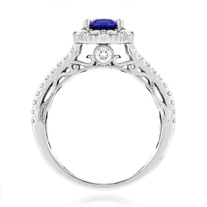 Sabel Collection 14K White Gold Cushion Cut Sapphire and Round Diamond Ring