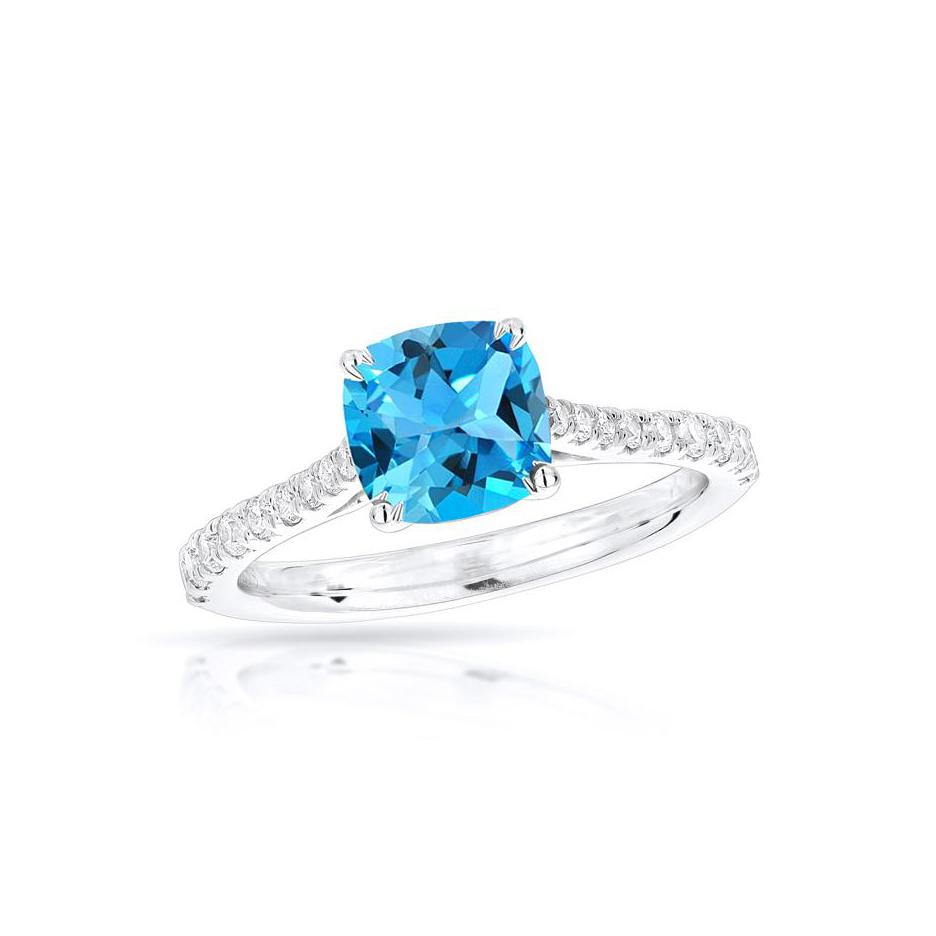 Sabel Collection 14K White Gold Cushion Cut Swiss Blue Topaz and Diamond Ring