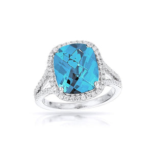 Sabel Collection 14K White Gold Cushion Cut Swiss Blue Topaz and Diamond Split Shank Ring