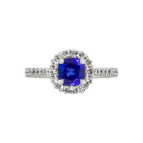 Sabel Collection 14K White Gold Cushion Cut Tanzanite and Diamond Halo Ring