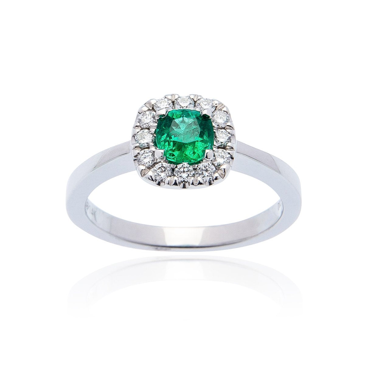 Sabel Collection 14K White Gold Cushion Emerald and Diamond Halo Ring
