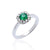 Load image into Gallery viewer, Sabel Collection 14K White Gold Cushion Emerald and Diamond Halo Ring