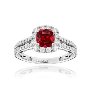 Sabel Collection 14K White Gold Cushion Ruby and Diamond Halo Ring with Split Shank