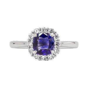 Sabel Collection 14K White Gold Cushion Tanzanite and Diamond Halo Ring