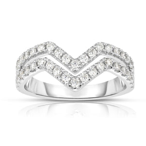 "Sabel Collection 14K White Gold Diamond Double Row ""V"" Ring"