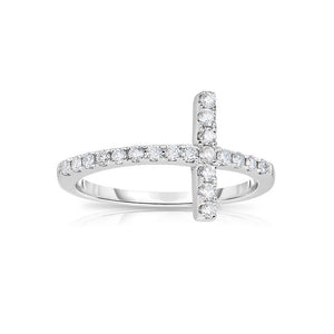 Sabel Collection 14K White Gold Diamond Sideways Cross Ring