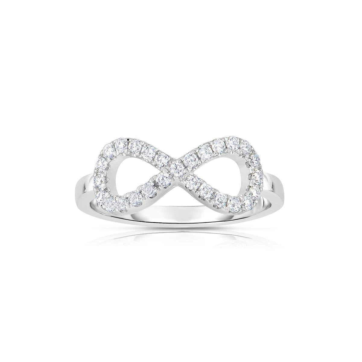 Sabel Collection 14K White Gold Infinity Ring with Diamonds