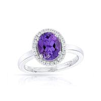 Sabel Collection 14K White Gold Oval Amethyst and Diamond Halo Ring