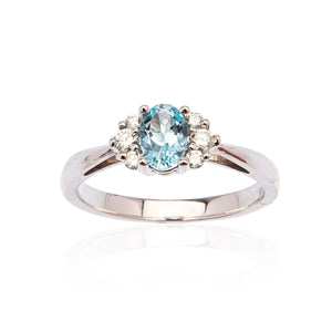 Sabel Collection 14K White Gold Oval Aquamarine and Diamond Cluster Ring