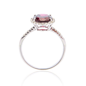 Sabel Collection 14K White Gold Oval Garnet and Round Diamond Ring
