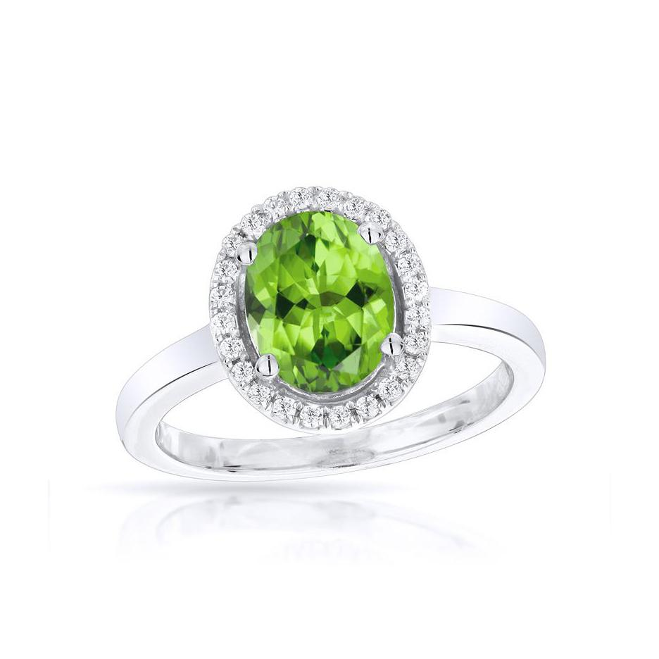 Sabel Collection 14K White Gold Oval Peridot and Diamond Halo Ring