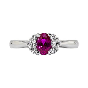 Sabel Collection 14K White Gold Oval Ruby and Diamond Cluster Ring