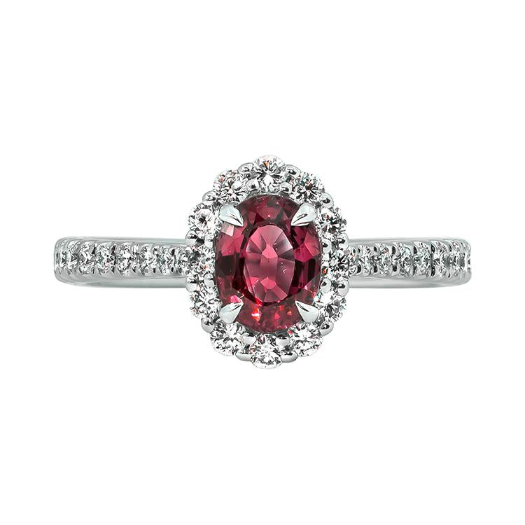 Sabel Collection 14K White Gold Oval Ruby and Diamond Halo Ring
