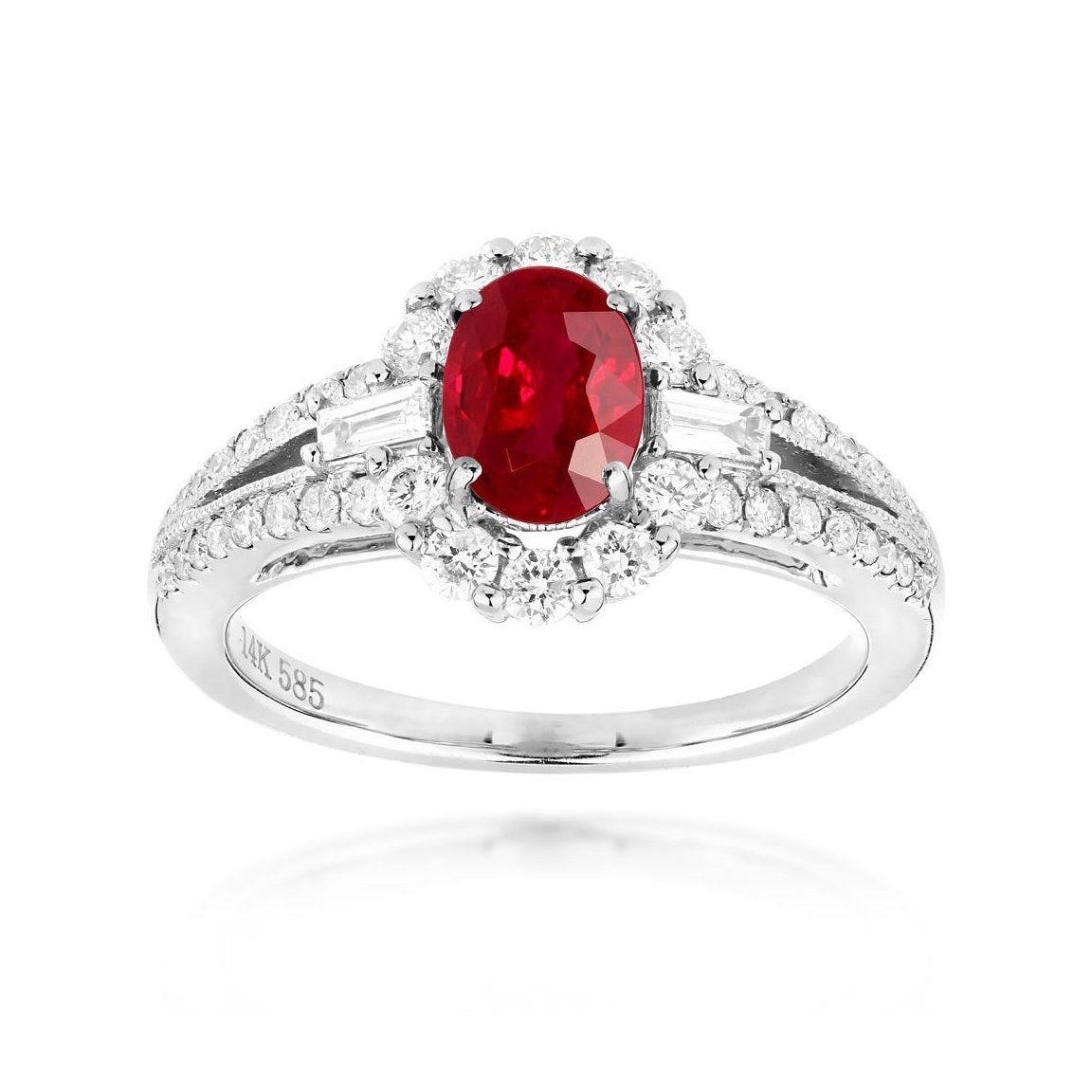 Sabel Collection 14K White Gold Oval Ruby and Diamond Halo Ring with Split Shank