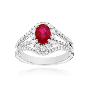 Sabel Collection 14K White Gold Oval Ruby and Diamond Split Shank Ring