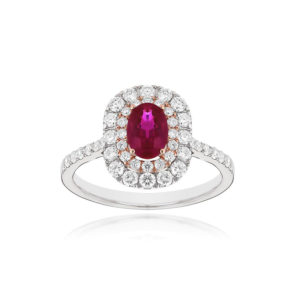 Sabel Collection 14K White Gold Oval Ruby and Double Halo Diamond Ring