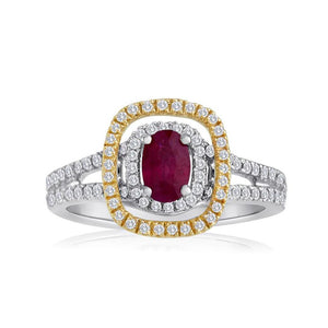 Sabel Collection 14K White Gold Oval Ruby and Round Diamond Ring