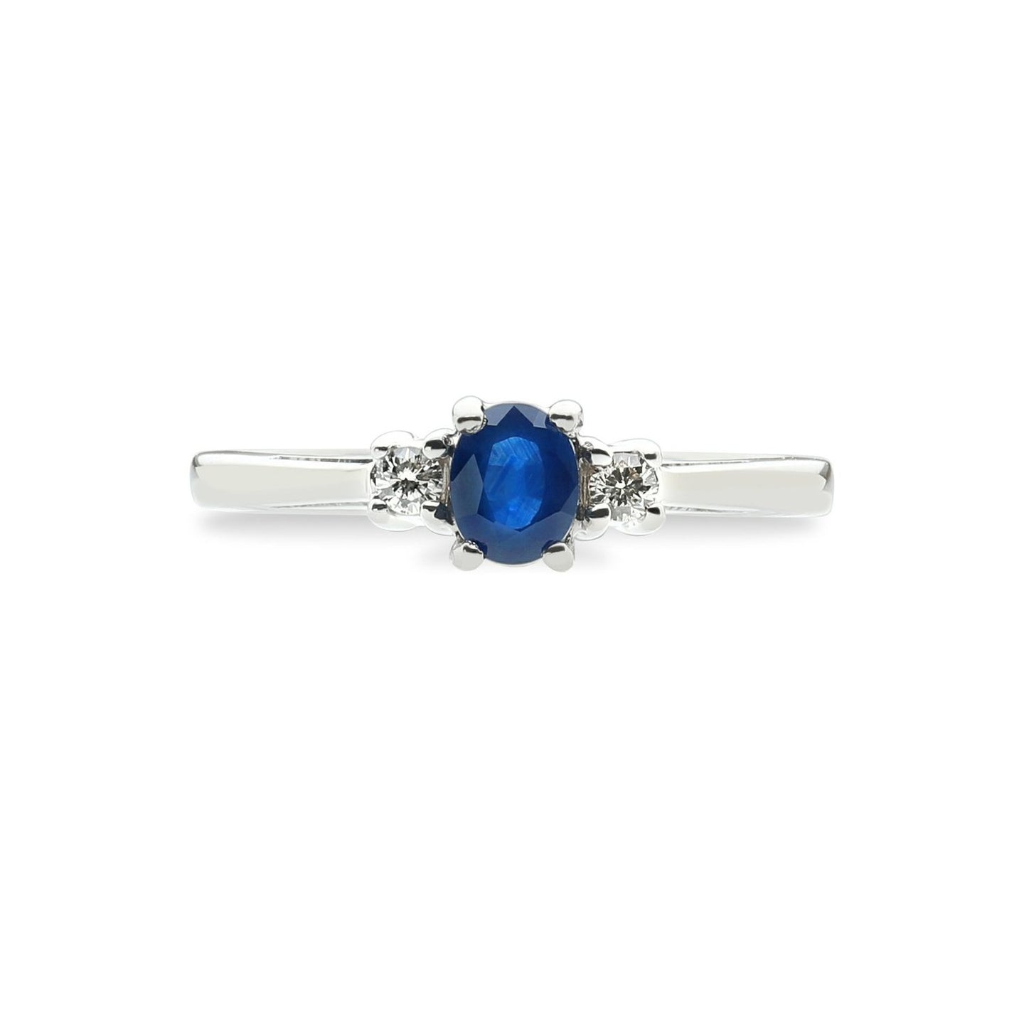 Sabel Collection 14K White Gold Oval Sapphire and Diamond Accent Ring
