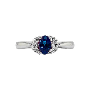 Sabel Collection 14K White Gold Oval Sapphire and Diamond Cluster Ring