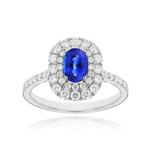 Sabel Collection 14K White Gold Oval Sapphire and Diamond Double Halo Ring