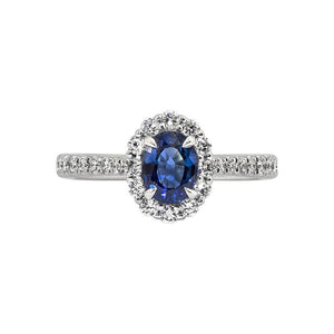 Sabel Collection 14K White Gold Oval Sapphire and Round Diamond Halo Ring