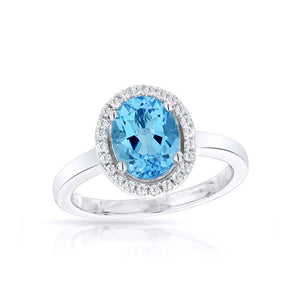 Sabel Collection 14K White Gold Oval Swiss Blue Topaz and Diamond Halo Ring