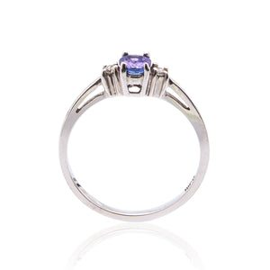 Sabel Collection 14K White Gold Oval Tanzanite and Round Diamond Three Stone Ring