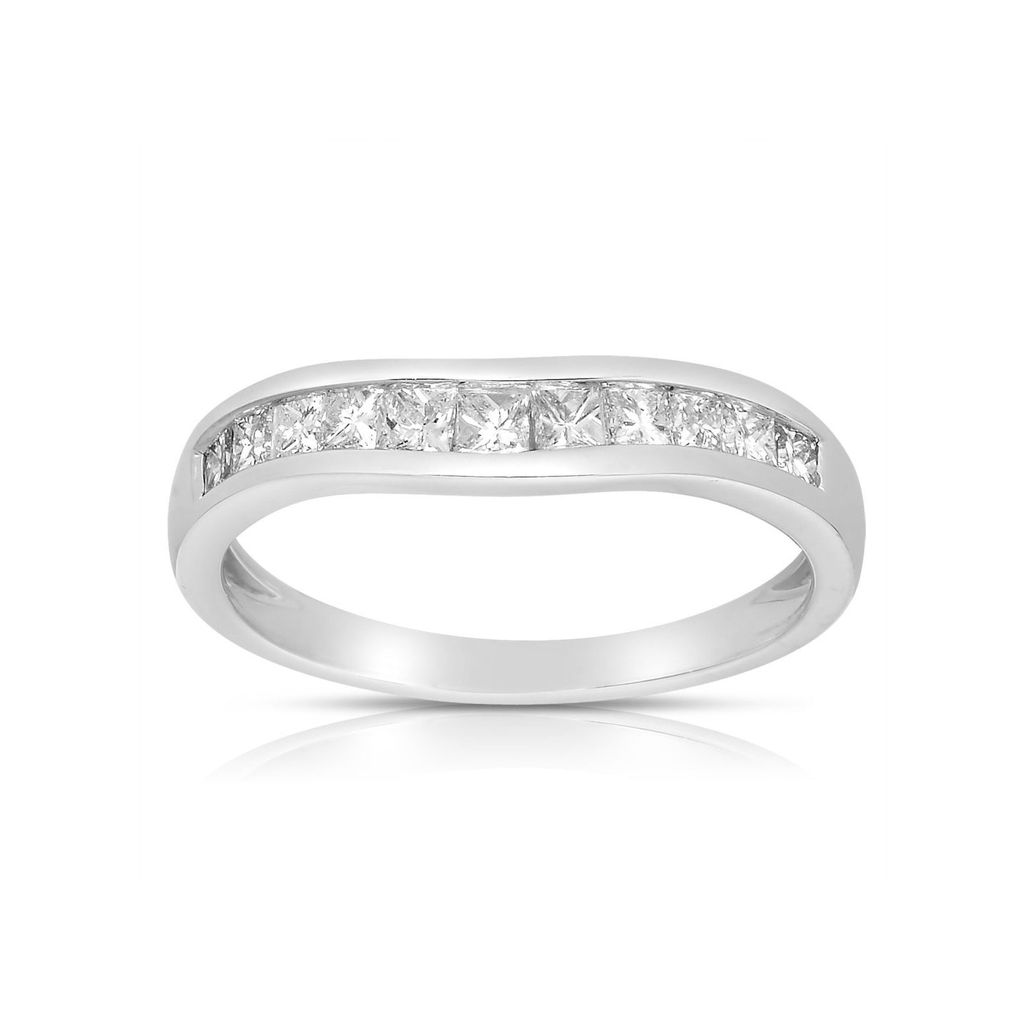 Sabel Collection 14K White Gold Princess Cut Diamond Curved Band