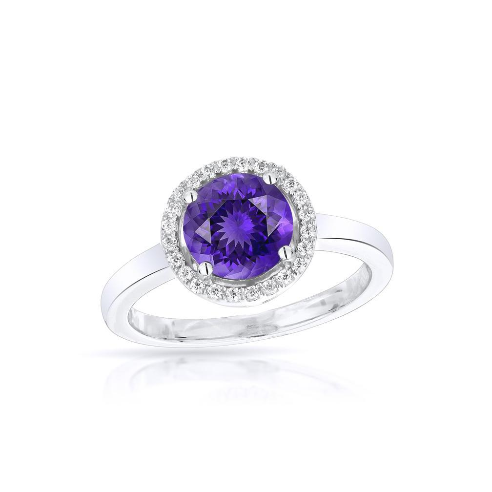 Sabel Collection 14K White Gold Round Amethyst and Diamond Halo Ring