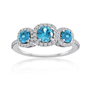 Sabel Collection 14K White Gold Round Aquamarine and Diamond Three-Stone Ring