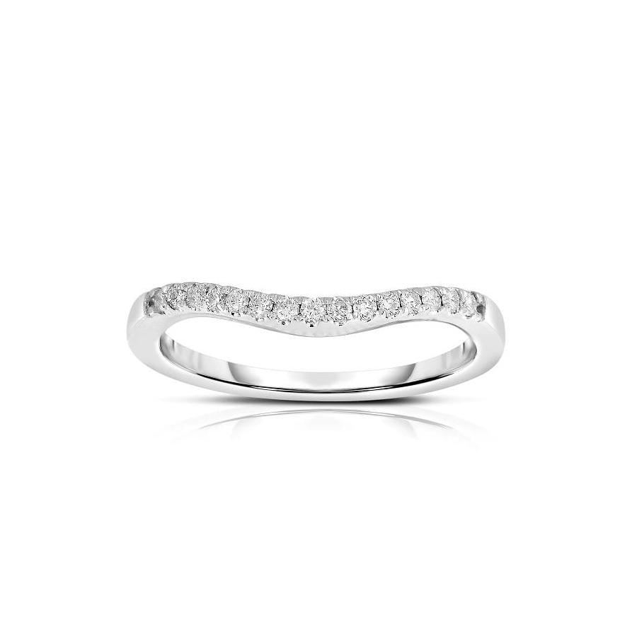 Sabel Collection 14K White Gold Round Diamond Curved Ring