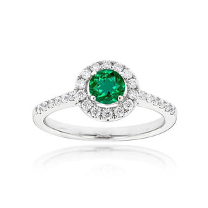 Sabel Collection 14K White Gold Round Emerald and Diamond Ring