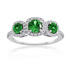 Sabel Collection 14K White Gold Round Emerald and Diamond Three-Stone Ring