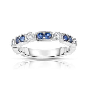 Sabel Collection 14K White Gold Round Sapphire and Diamond Milgrain Accent Ring