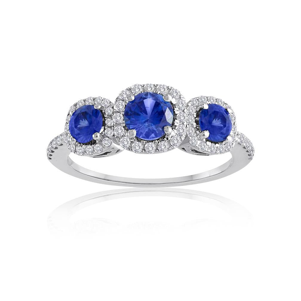 Sabel Collection 14K White Gold Round Sapphire and Diamond Three-Stone Ring