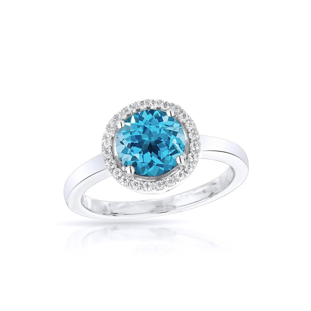 Sabel Collection 14K White Gold Round Swiss Blue Topaz and Diamond Halo Ring