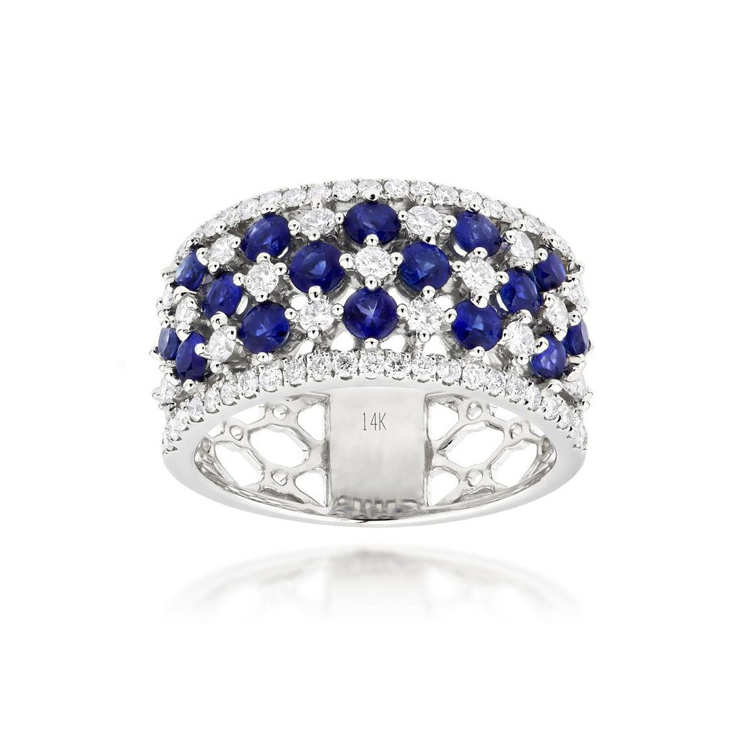 Sabel Collection 14K White Gold Sapphire and Diamond Five Row Ring