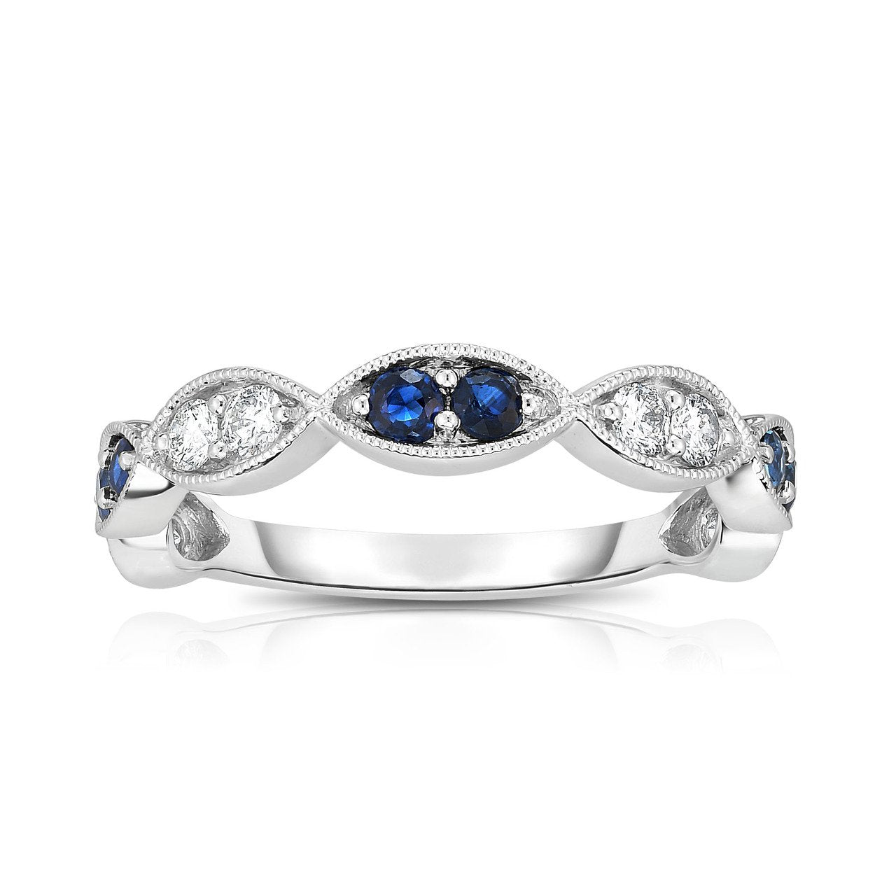 Sabel Collection 14K White Gold Sapphire and Diamond Marquise Accent Ring