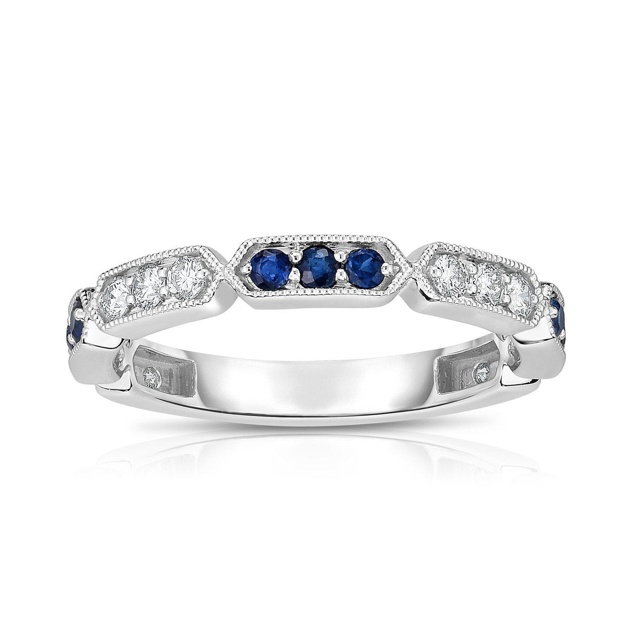 Sabel Collection 14K White Gold Sapphire and Diamond Milgrain Accent Ring