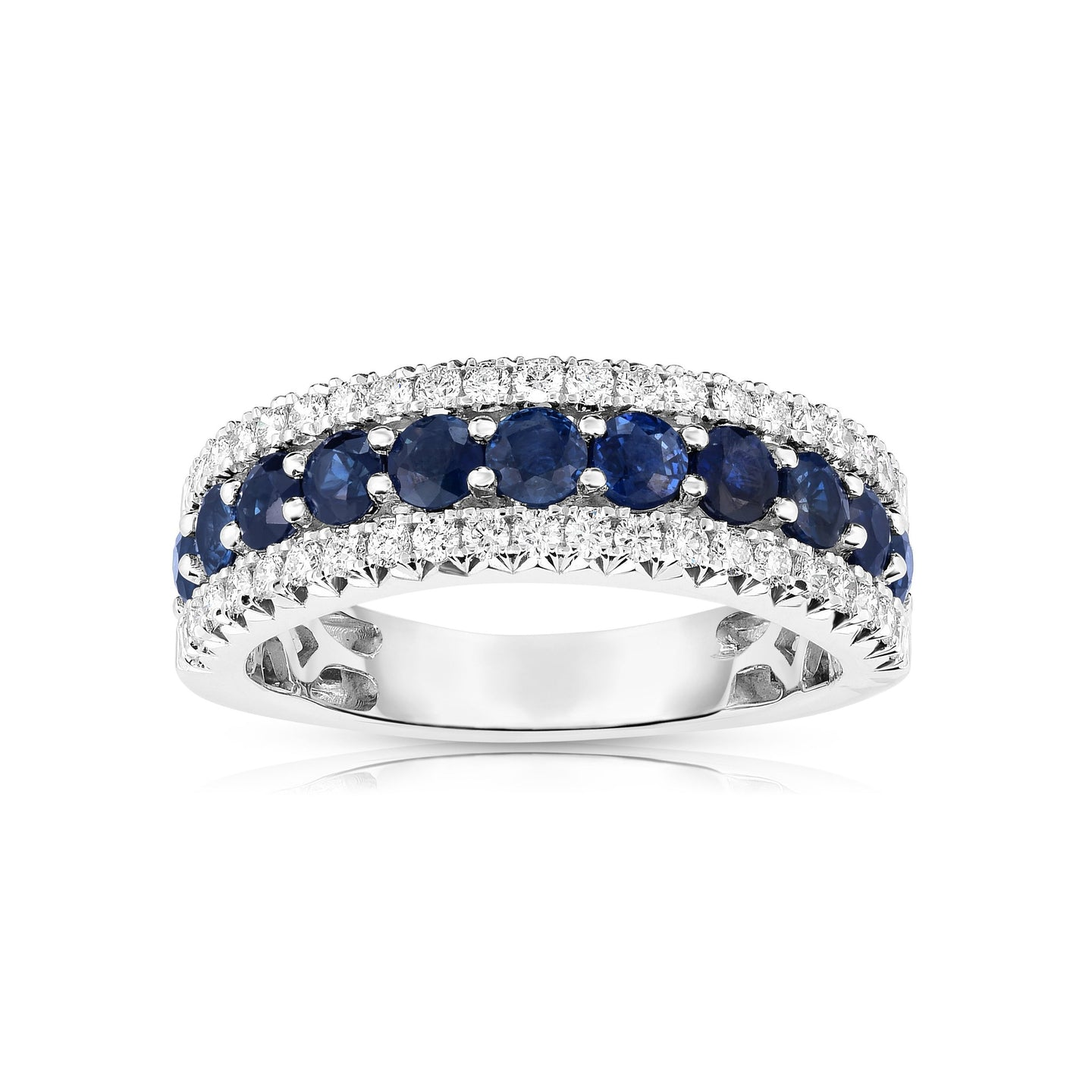 Sabel Collection 14K White Gold Sapphire and Diamond Three Row Ring