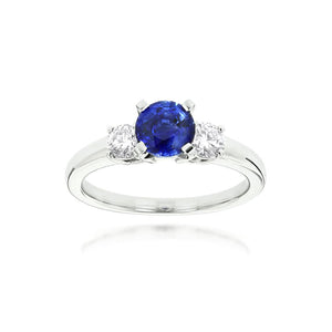 Sabel Collection 14K White Gold Sapphire and Diamond Three-Stone Ring