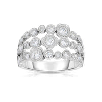 Sabel Collection 14K White Gold Three Row Orbit Openwork Diamond Ring