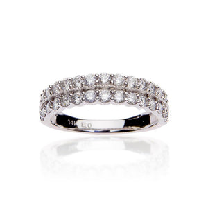 Sabel Collection 14K White Gold Two Row Diamond Ring