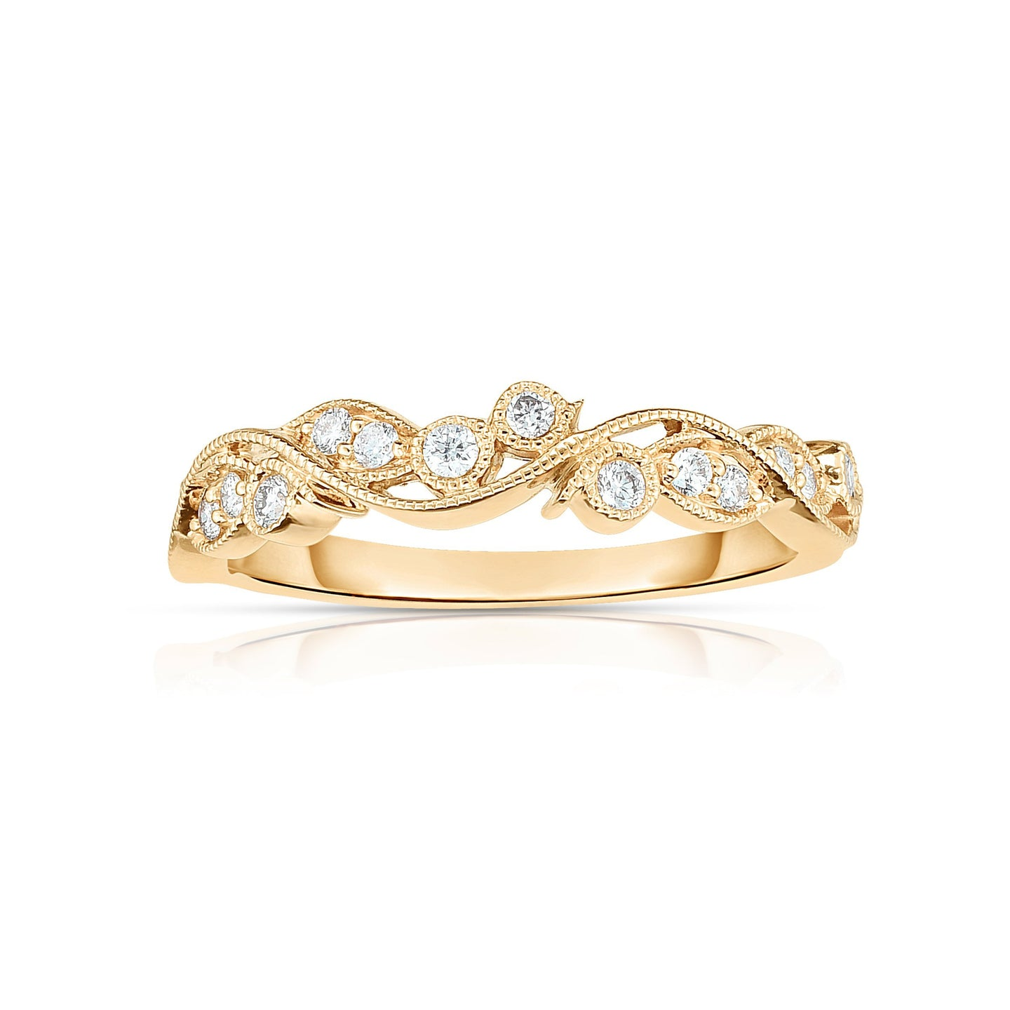 Sabel Collection 14K Yellow Gold Diamond Milgrain Scroll Ring