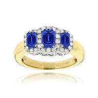 Sabel Collection 14K Yellow Gold Emerald Cut Sapphire and Diamond Three-Stone Ring