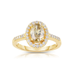 Sabel Collection 14K Yellow Gold Oval Mocha and White Diamond Ring
