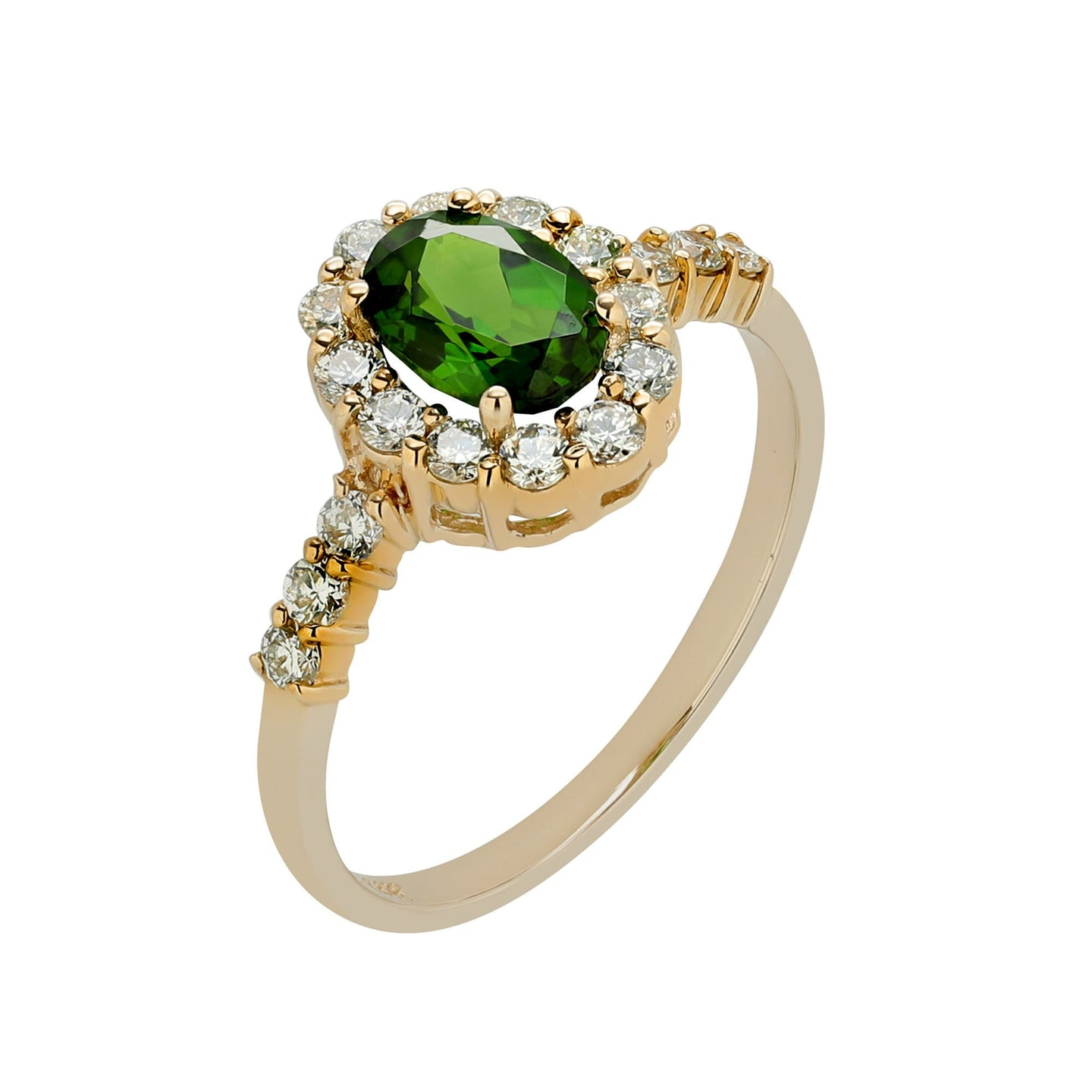 Sabel Collection 14K Yellow Gold Oval Russalite and Diamond Halo Ring