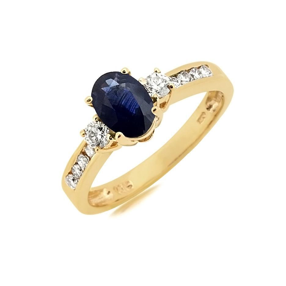 Sabel Collection 14K Yellow Gold Oval Sapphire and Diamond Shank Ring