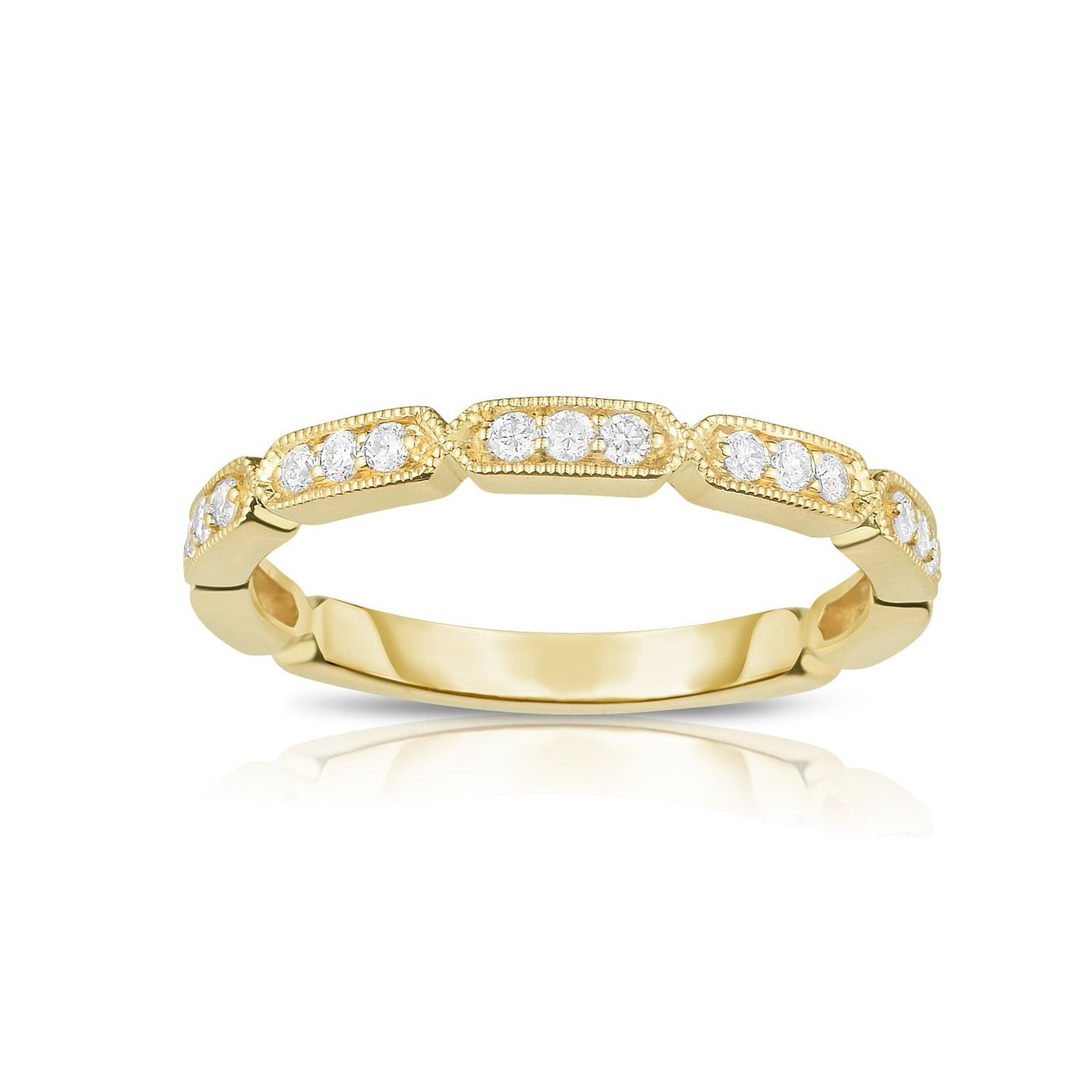 Sabel Collection 14K Yellow Gold Round Diamond Band Ring with Milgrain Detail
