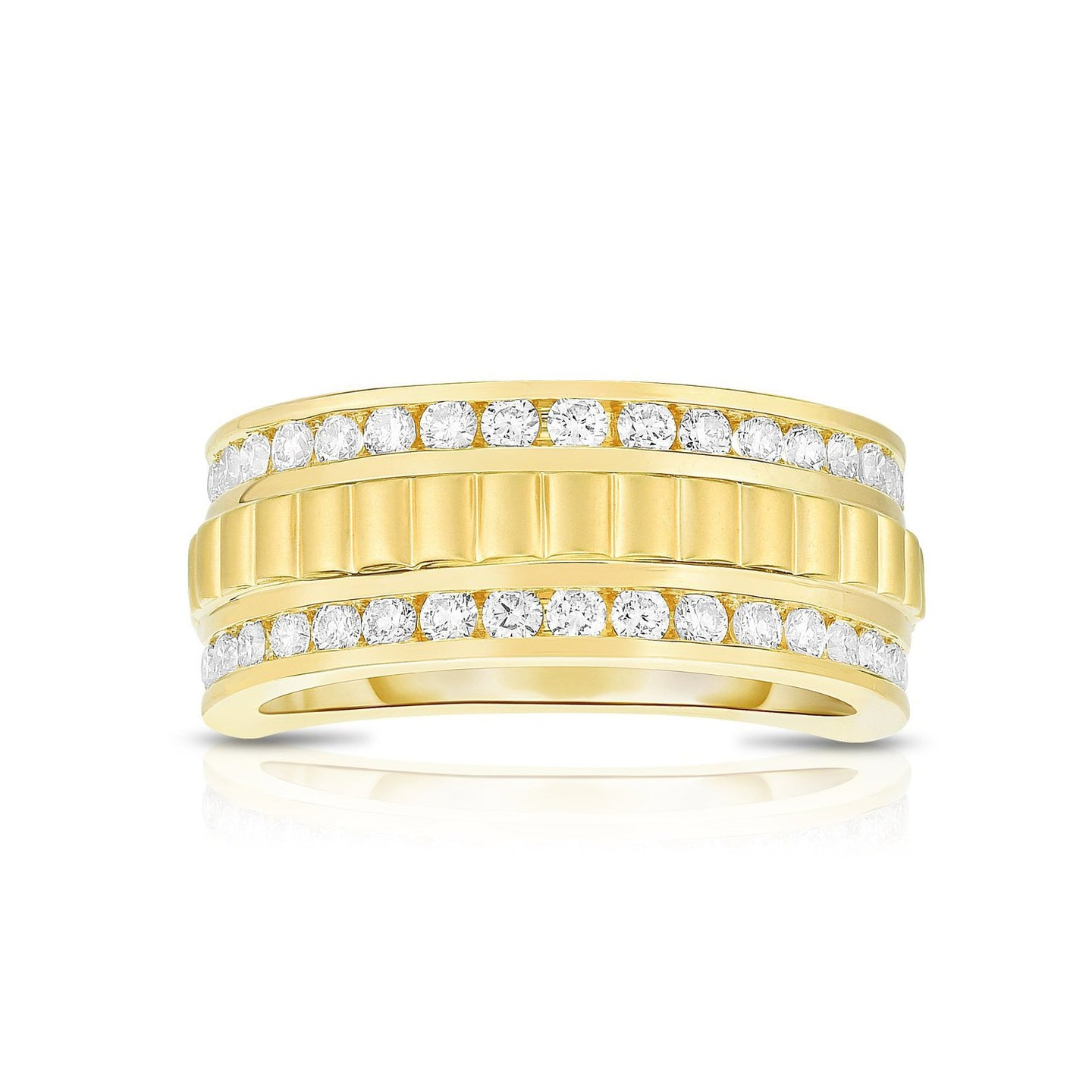 Sabel Collection 14K Yellow Gold Wide Band Ring with Round Diamonds